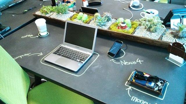 Chalkboard painted Desk at Google HQ