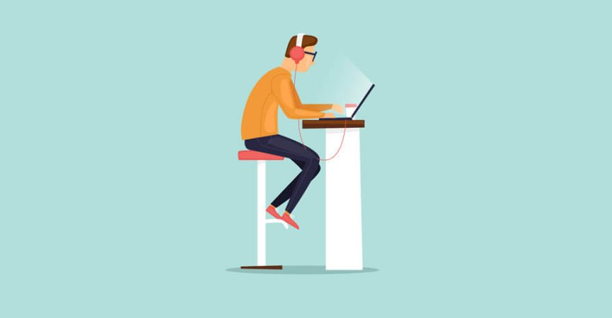 Cartoon picture of man tying on desk, blue background.